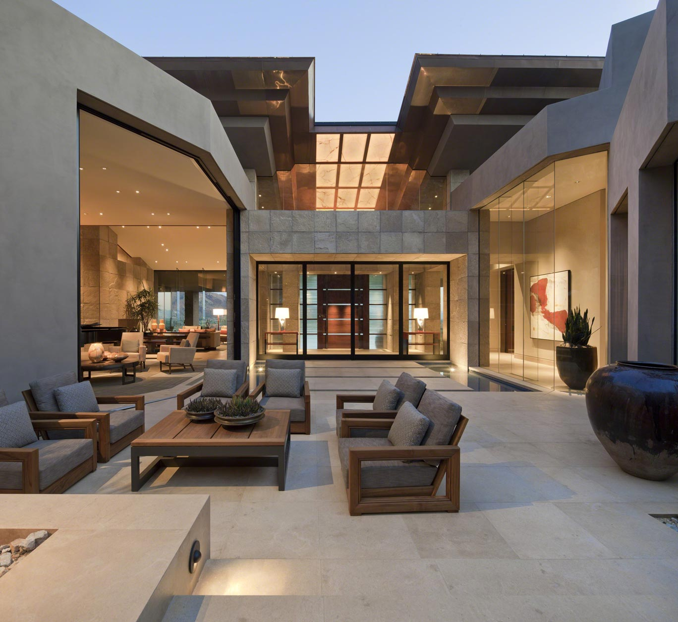Contemporary outdoor living design in phoenix david michael miller for Modern showroom exterior design